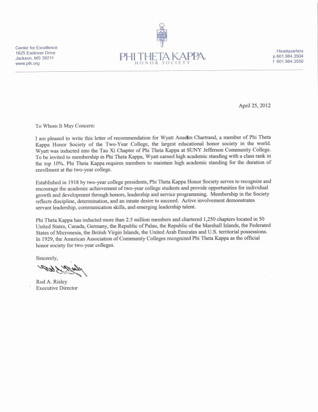 Recommendation Letter for Honor society Best Of Phi theta Kappa Honor society Re Mendation Letter Wc
