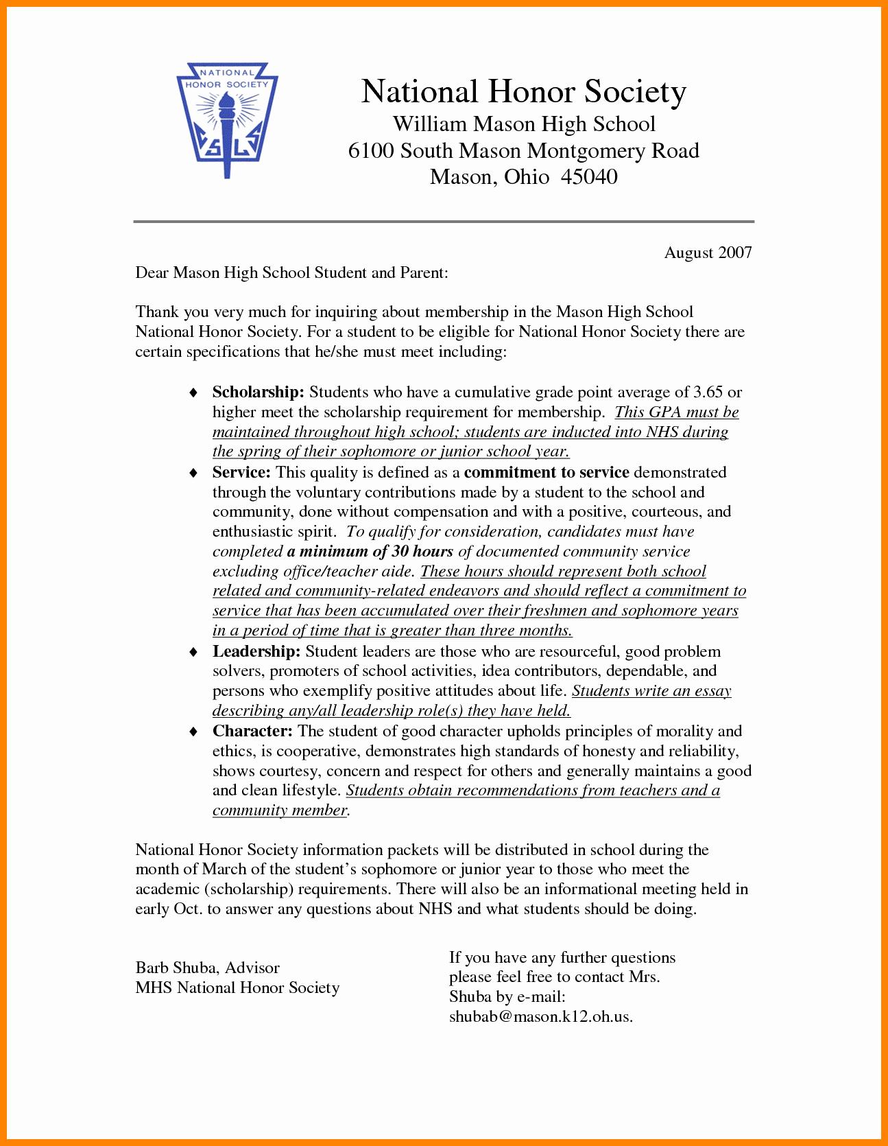 Recommendation Letter for Honor society Lovely 12 Re Mendation Letter for National Honor society