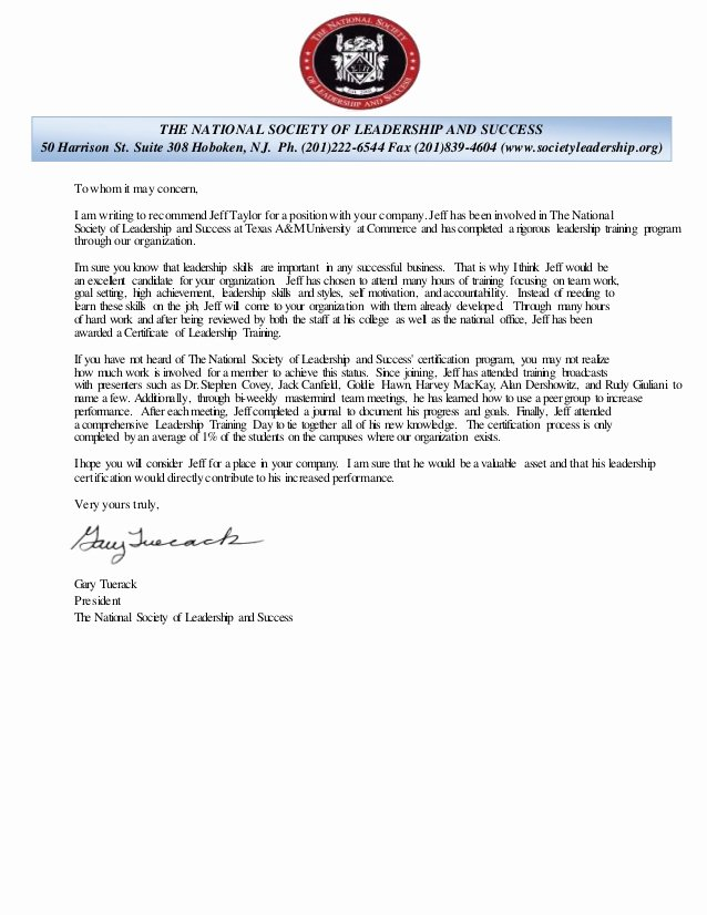national society of leadership and sucess re mendation letter
