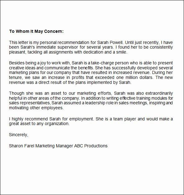 Recommendation Letter for Internship Elegant Job Re Mendation Letter 12 Free Documents In Word Pdf
