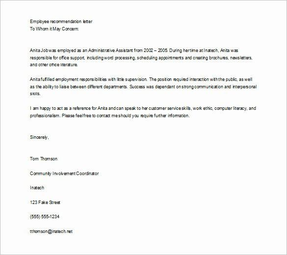 Recommendation Letter for Internship Elegant Job Re Mendation Letter Templates 15 Sample Examples