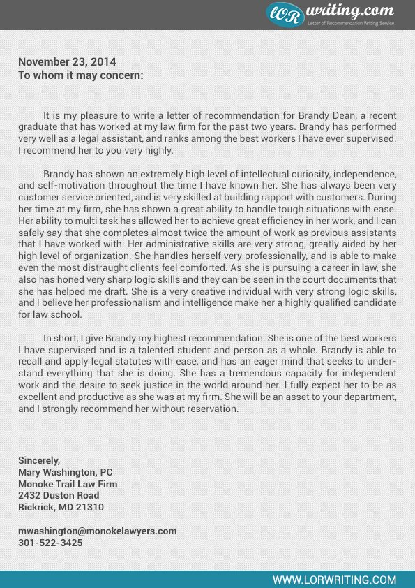 Recommendation Letter for Law School Best Of Professional Law School Letter Of Re Mendation Sample