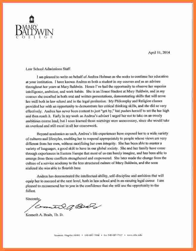 Recommendation Letter for Law School Fresh 9 Law School Letter Of Re Mendation