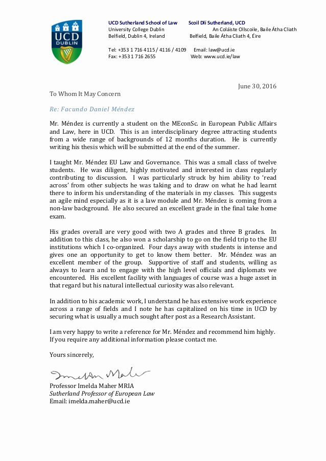 Recommendation Letter for Law School Lovely Dr Maher Sutherland Chair In European Law Letter Of