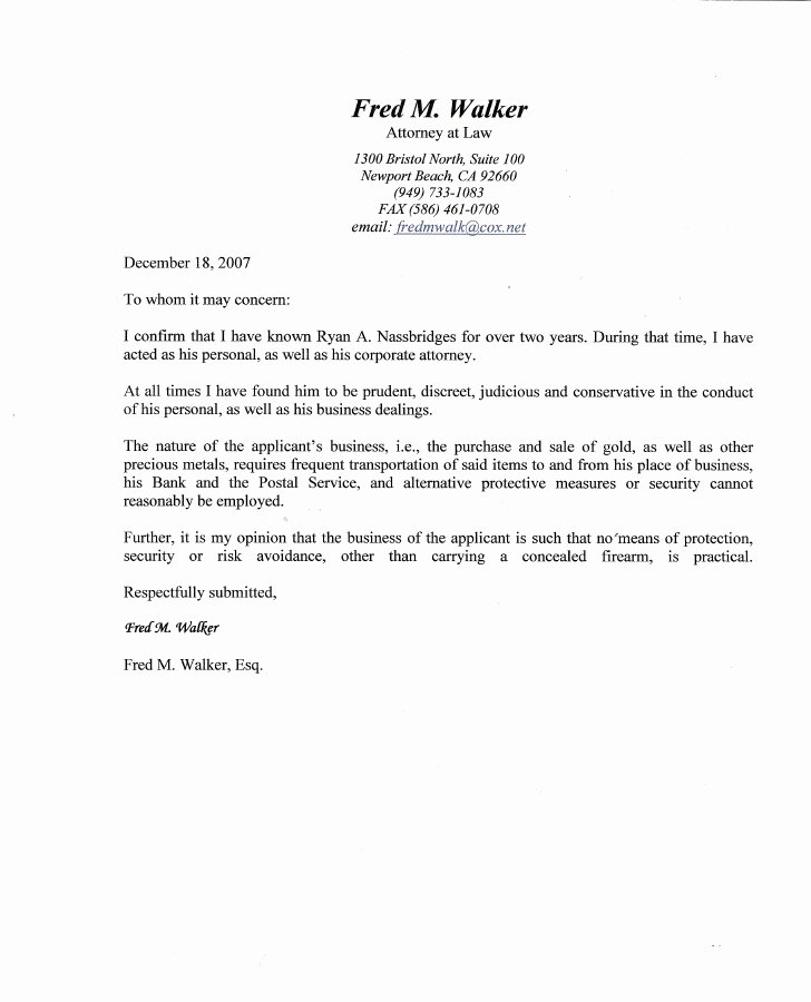 Recommendation Letter for Lawyer Unique Ryan A Nassbridges Character Reference From attorney Fred