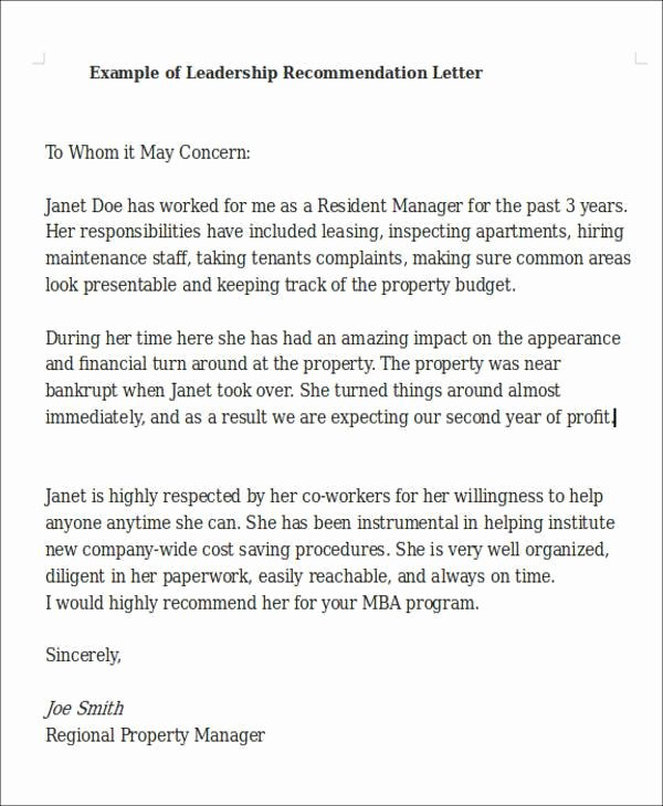 Recommendation Letter for Leadership Program Awesome Leadership Re Mendation Letter Sample