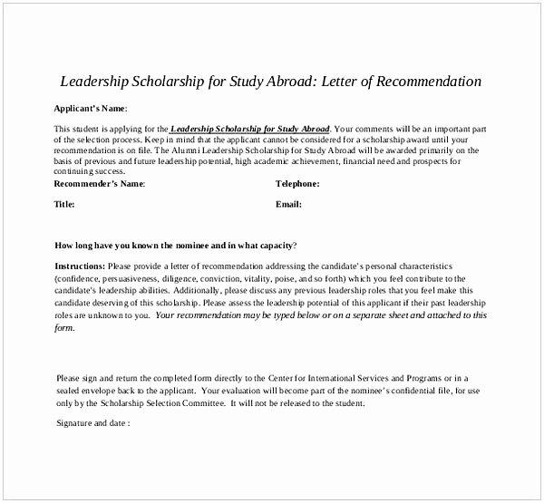 letter of re mendation for scholarship