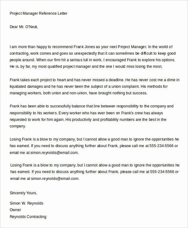 Recommendation Letter for Leadership Program Luxury 7 Sample Manager Reference Letters Free Sample Example