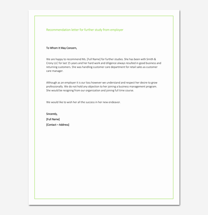 Recommendation Letter for Master Degree Beautiful Re Mendation Letter for Graduate School From Employer