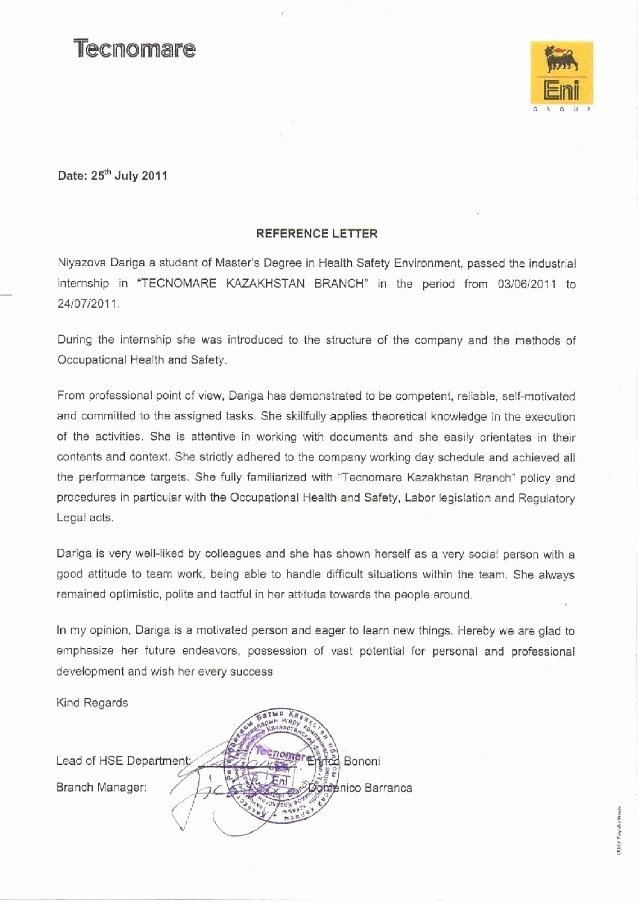 Recommendation Letter for Master Degree Elegant Re Mendation Letter