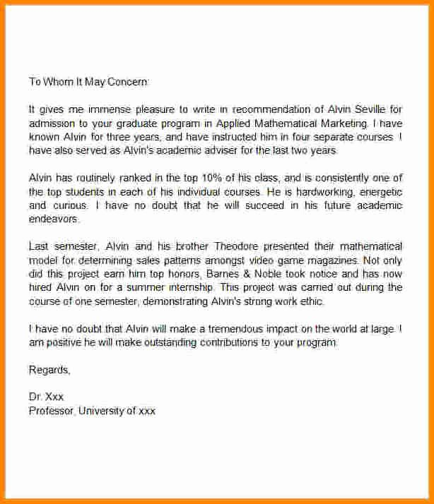 Recommendation Letter for Master Degree Lovely 7 Letter Of Re Mendation Samples for Masters Degree