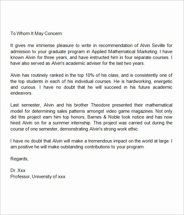 Recommendation Letter for Masters Program New 44 Sample Letters Of Re Mendation for Graduate School