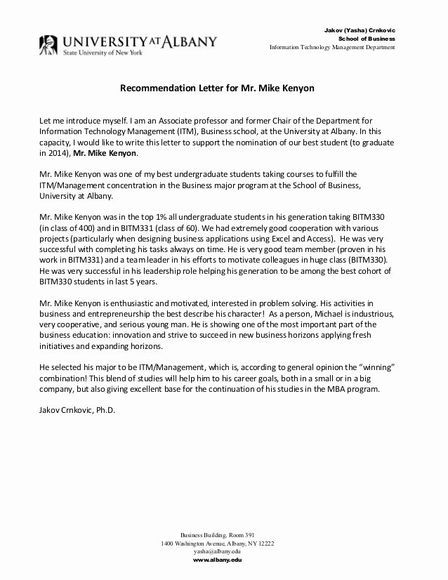 Recommendation Letter for Mba Beautiful Jakov Yasha Crnkovic Ph D Re Mendation Letter