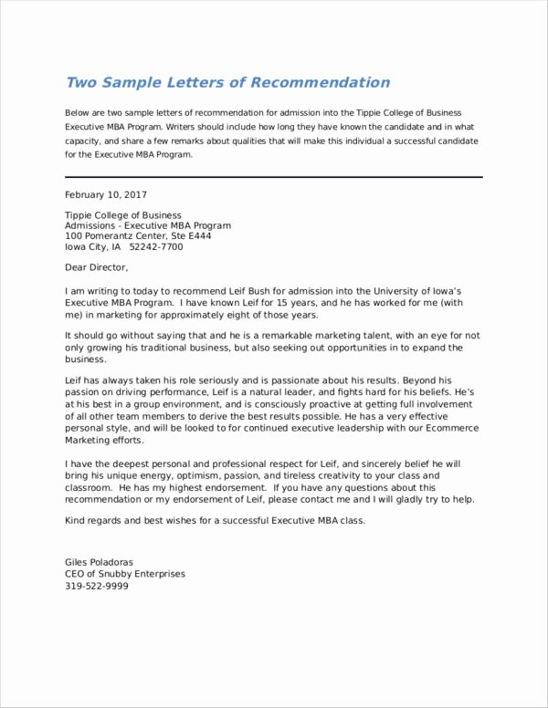 Recommendation Letter for Mba Best Of How to Write A Re Mendation Letter for Graduate School