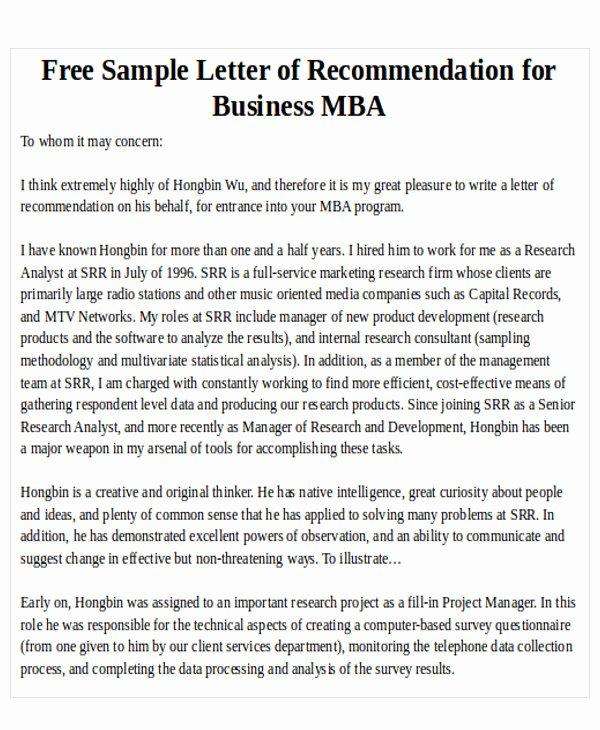 Recommendation Letter for Mba Lovely 7 Sample Mba Re Mendation Letter Free Sample Example