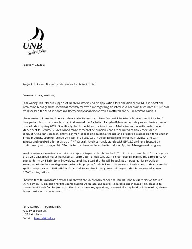 Recommendation Letter for Mba Lovely Jacob Weinstein Reference Letter Mba Sports