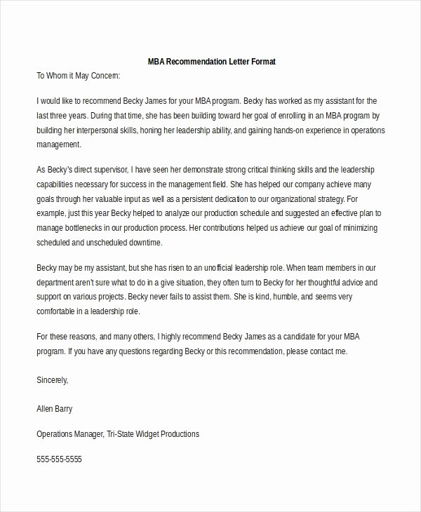 Recommendation Letter for Mba Luxury Sample Re Mendation Letter format 8 Free Documents In