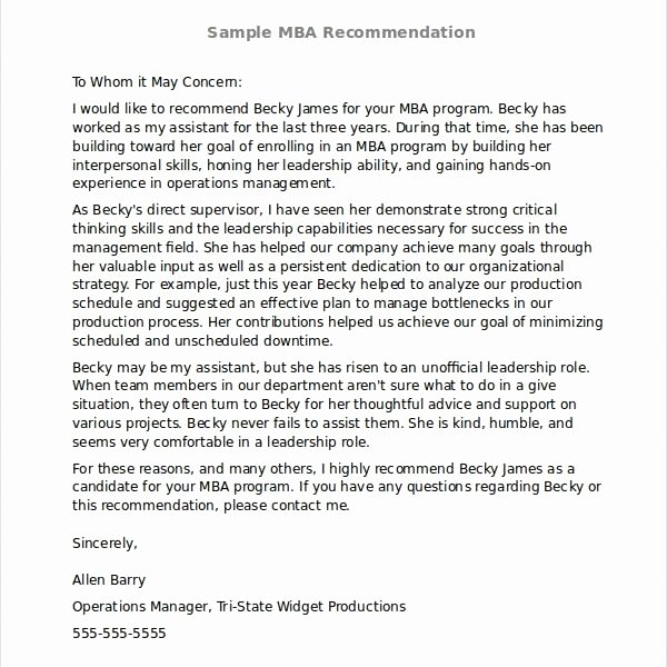 Recommendation Letter for Mba Program Awesome Re Mendation Letter Example Sample From Employer for Mba