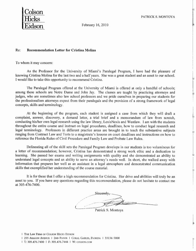 Recommendation Letter for Mba Program Beautiful Re Mendation Letter From Paralegal Program Professor