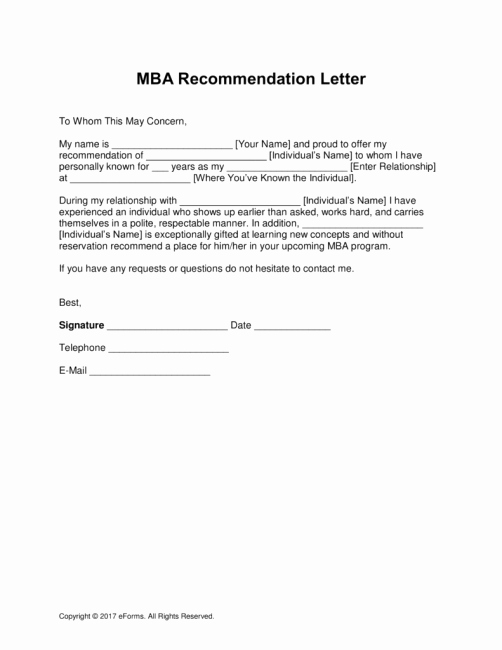 Recommendation Letter for Mba Program Beautiful Sample Reservation Rights Letter Template