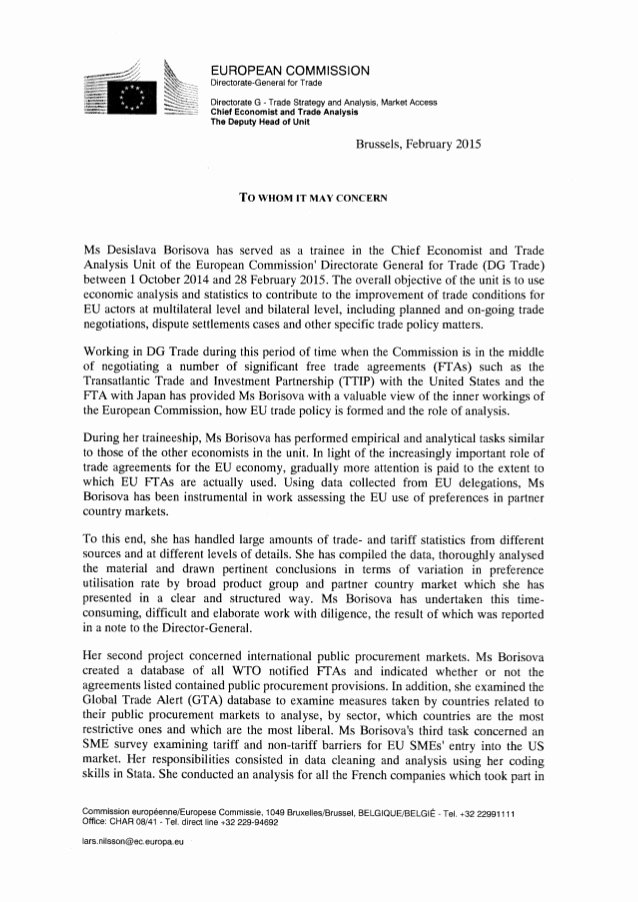 Recommendation Letter for Mba Unique Letter Of Re Mendation European Mission Pdf