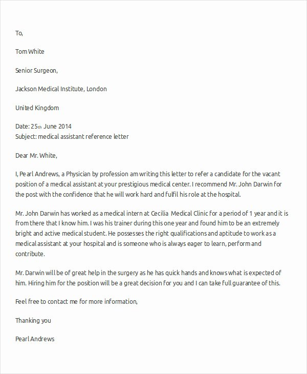 Recommendation Letter for Medical assistant New 36 Reference Letter Examples & Samples Pdf Doc