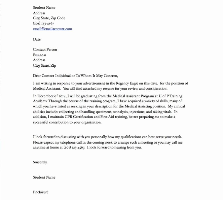 Recommendation Letter for Medical assistant New Medical assistant Resume Cover Letter Medical assistant