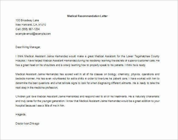 Recommendation Letter for Medical assistant Unique 11 Re Mendation Letters for Employment – Free Sample