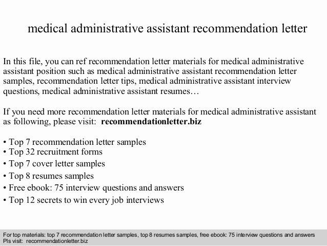 Recommendation Letter for Medical assistant Unique Medical Administrative assistant Re Mendation Letter