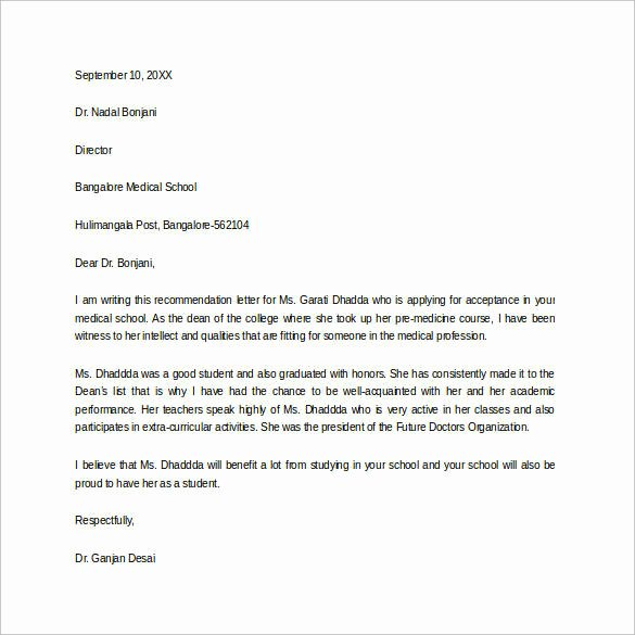 Recommendation Letter for Medical School Beautiful Letter Re Mendation for Student Entering Medical