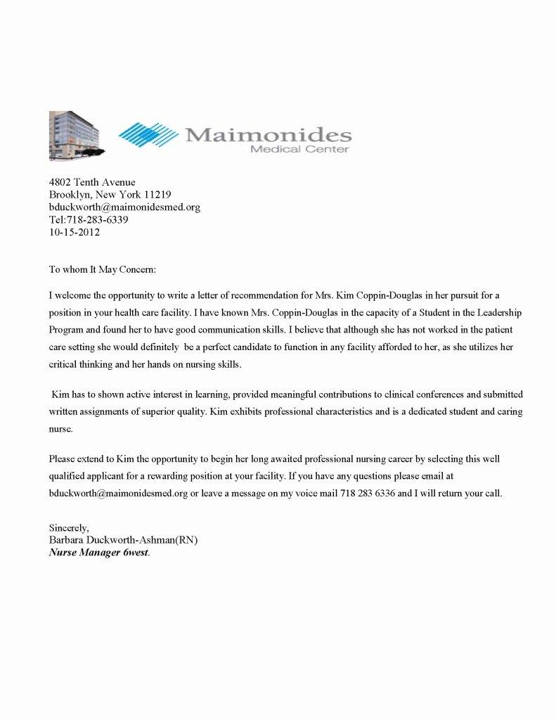 Recommendation Letter for Medical Student Inspirational Maimonides Medical Center