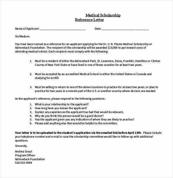 Recommendation Letter for Medical Student Lovely 27 Letters Of Re Mendation for Scholarship Pdf Doc