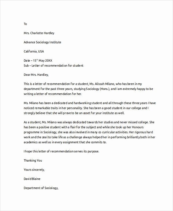 Recommendation Letter for Medical Student Lovely 8 Letter Of Re Mendation Examples