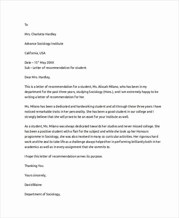 Recommendation Letter for Medical Student Lovely 8 Letter Of Re Mendation Examples