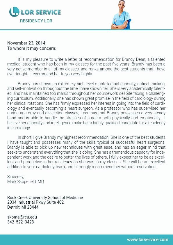 Recommendation Letter for Medical Student Unique Pin by Lor Service On Residency Letter Of Re Mendation