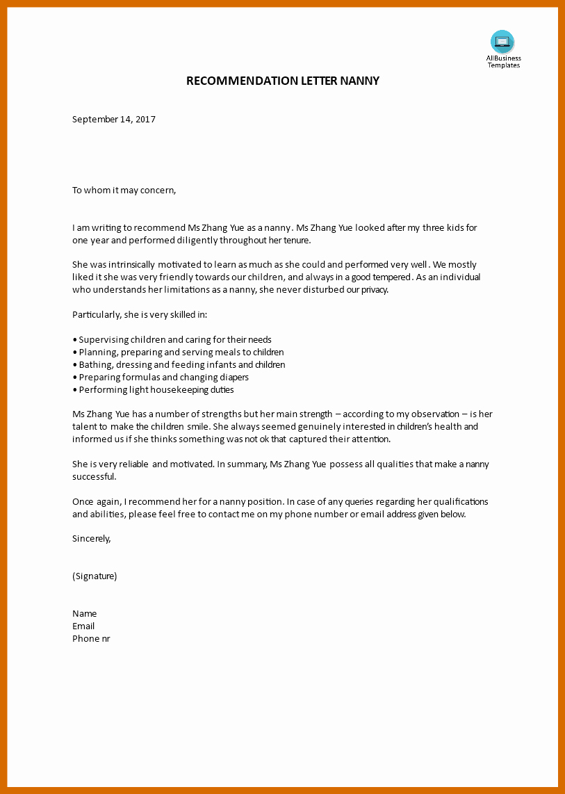 Recommendation Letter for Nanny Awesome 6 7 Nanny Reference Letter