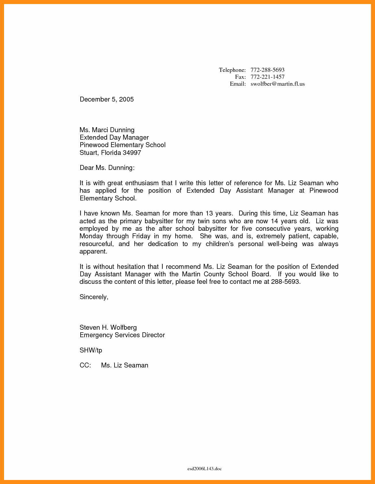 Recommendation Letter for Nanny Awesome Nanny Letter Of Re Mendation