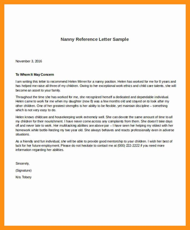 Recommendation Letter for Nanny Beautiful Nanny Letter Of Re Mendation