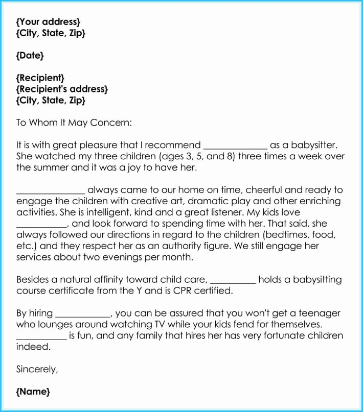Recommendation Letter for Nanny Elegant Babysitter Reference Letter Writing Guide & Free Sample