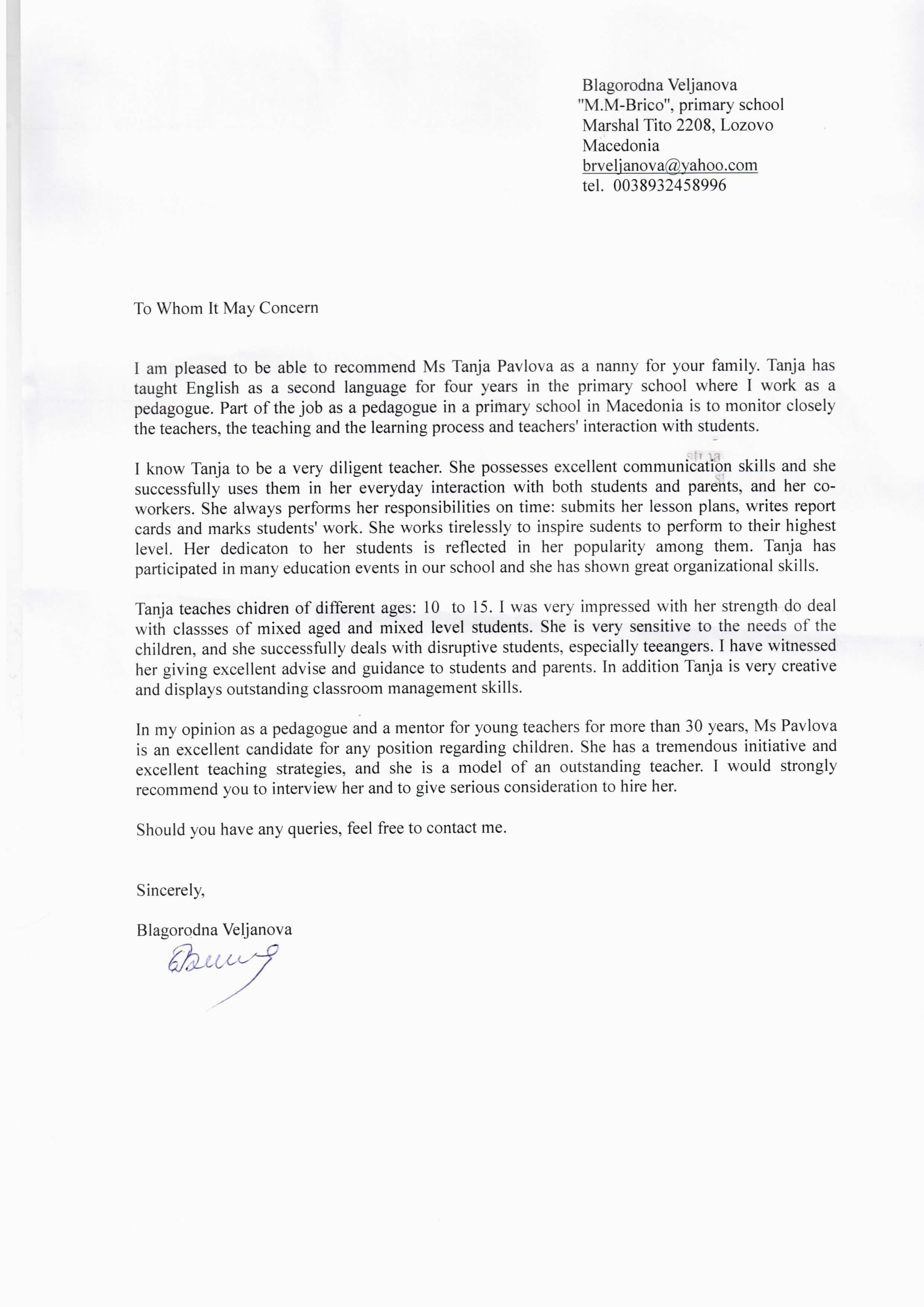 Recommendation Letter for Nanny Elegant Reference Letter Template Au Pair New Reference Letter for