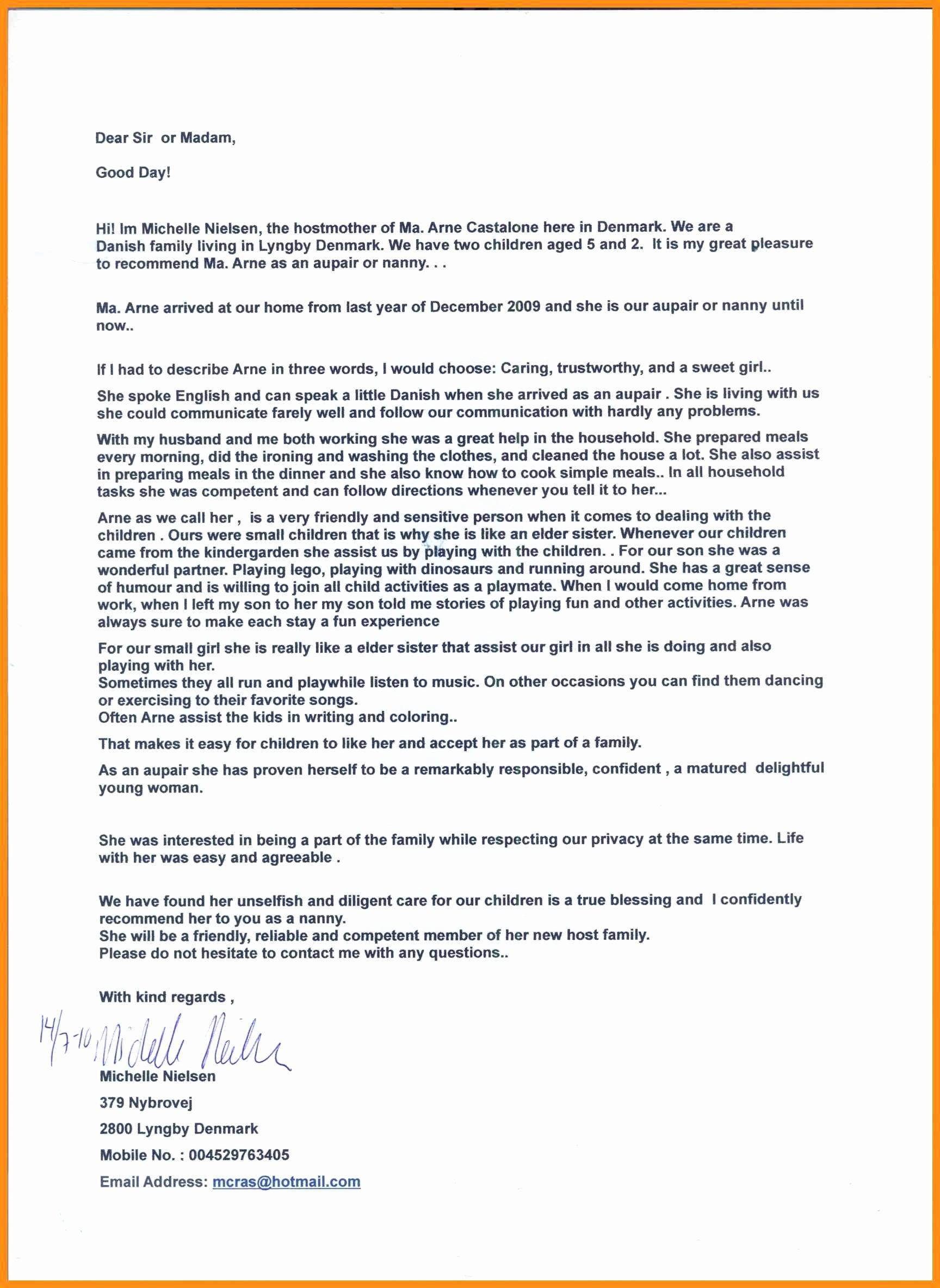 Recommendation Letter for Nanny Fresh Letter Of Re Mendation Nanny