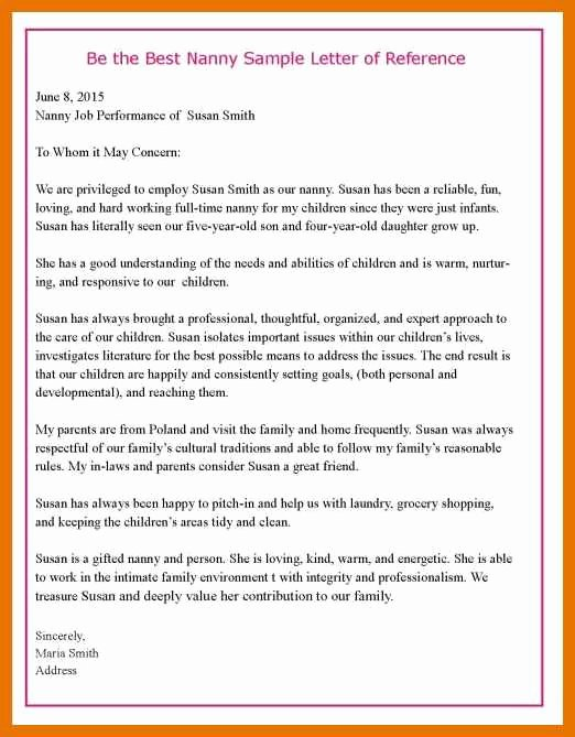 Recommendation Letter for Nanny Inspirational 5 6 Letter Of Re Mendation for Nanny