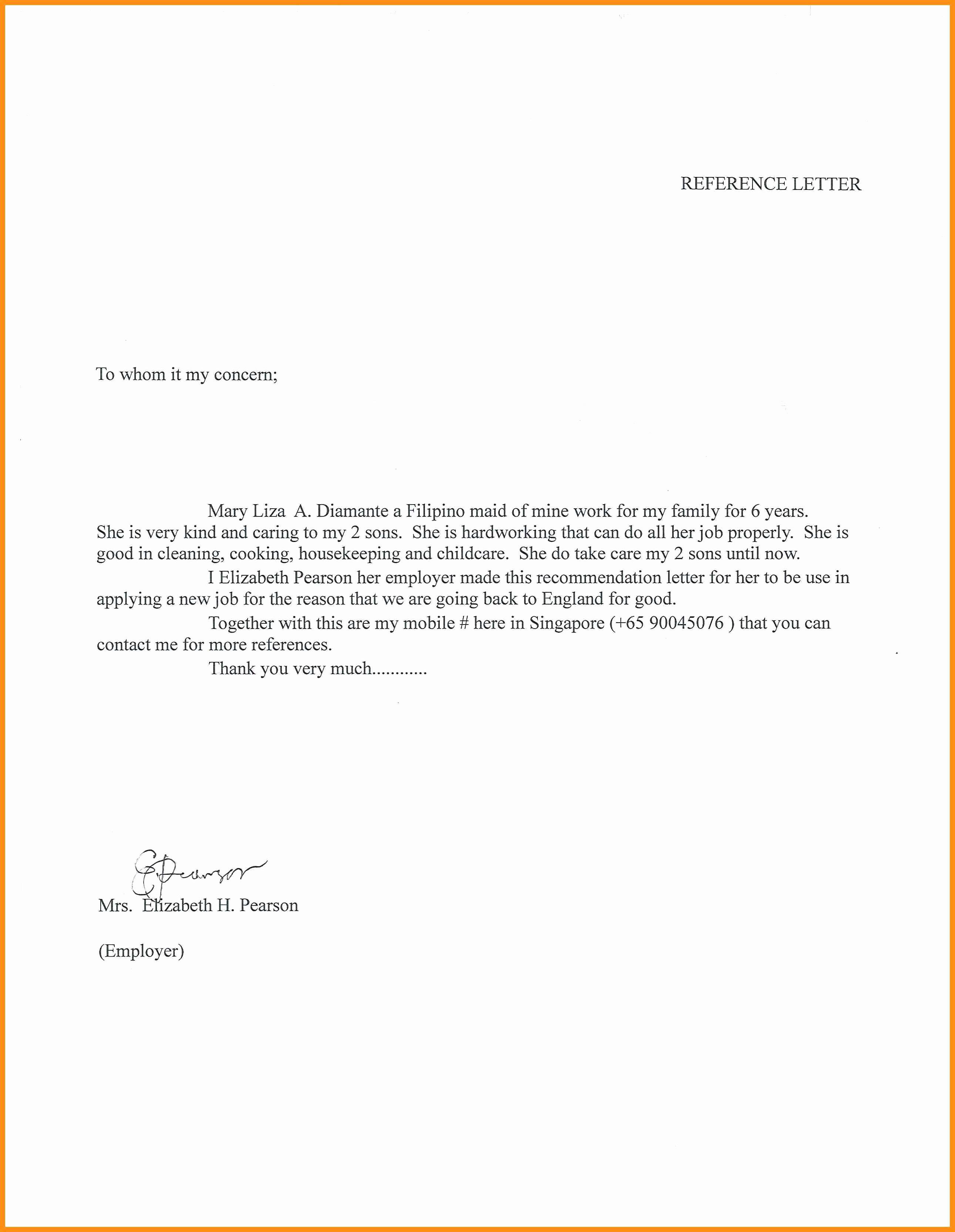Recommendation Letter for Nanny Inspirational Nanny Letter Of Re Mendation
