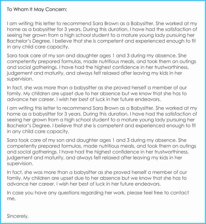 Recommendation Letter for Nanny Lovely Babysitter Reference Letter Writing Guide & Free Sample