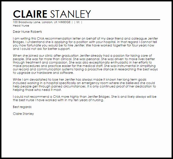 Recommendation Letter for Nurse Elegant Cna Reference Letter Example