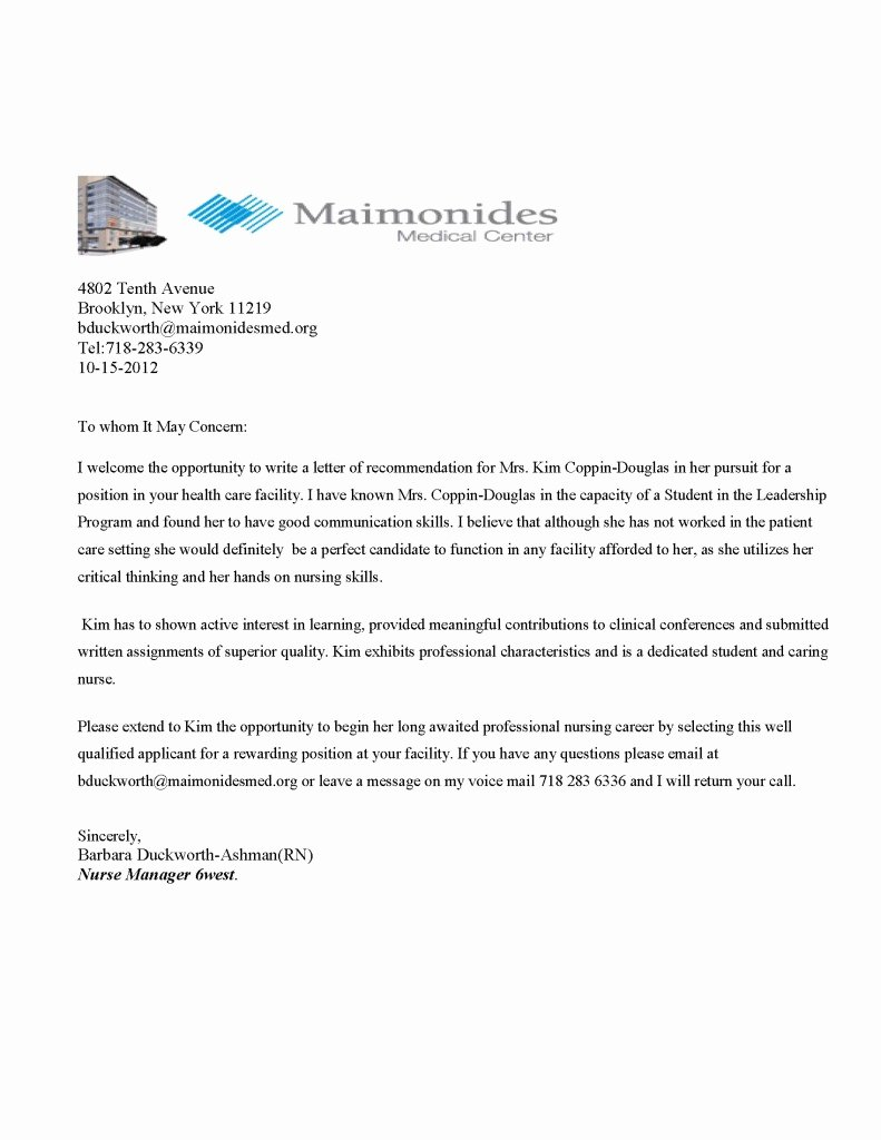Recommendation Letter for Nurse Practitioner New Maimonides Medical Center