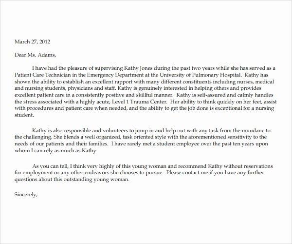 Recommendation Letter for Nurse Unique 11 Nurse Reference Letters Pdf Word