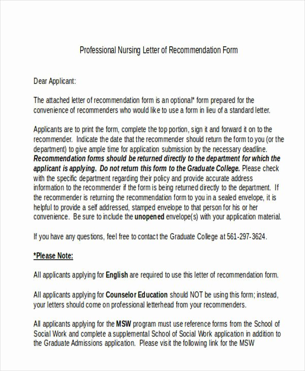 Recommendation Letter for Nursing School Awesome 89 Re Mendation Letter Examples & Samples Doc Pdf
