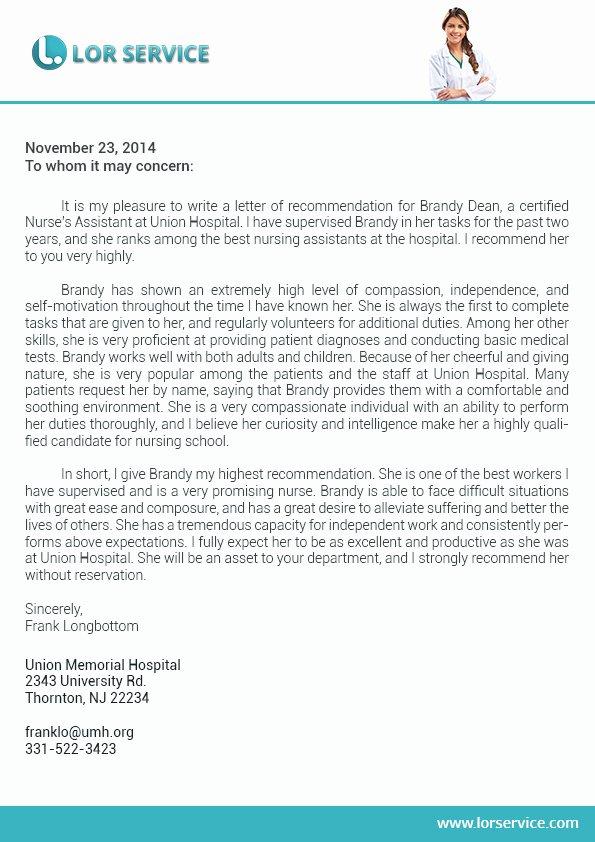 Recommendation Letter for Nursing School Best Of Letter Of Re Mendation for Nursing School Writing Service