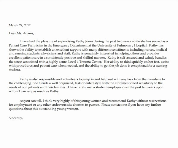 Recommendation Letter for Nursing School Fresh Nursing Reference Letter Examples Letter Of Re Mendation